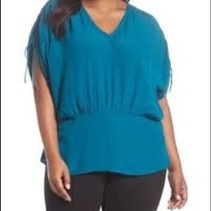 Sejour Chinched Sleeve Blouse NWT Teal Gloss 3X